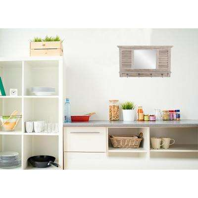Colton 17 in. x 30 in. Wood Wall Shelf with Hooks