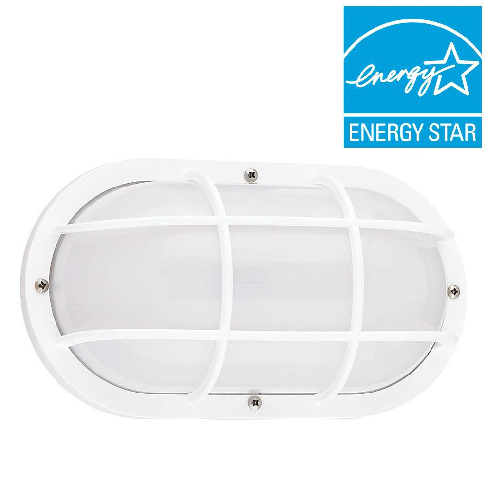 Sea Gull Lighting Bayside 1-Light Outdoor White Wall Fixture