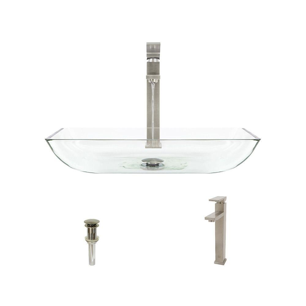Glass Vessel Sink in Crystal with 721 Faucet and Pop-Up Drain
