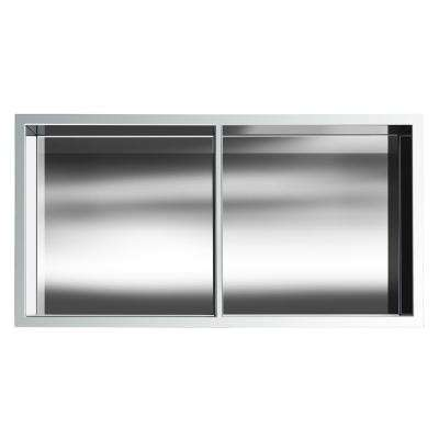 Showroom Series 12 in. x 24 in. SS Niche with Central Shelf in Polished Chrome