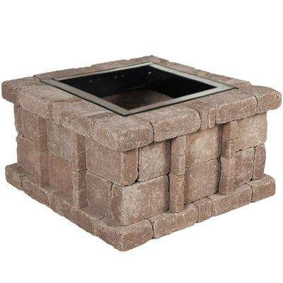 RumbleStone 38.5 in. x 21 in. Square Concrete Fire Pit Kit No. 5 in Cafe