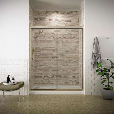 Fluence 59-5/8 in. x 70-3/8 in. Semi-Frameless Sliding Shower Door in Anodized Brushed Bronze with Handle