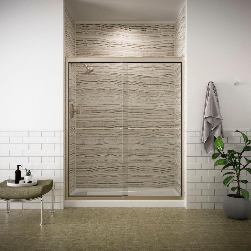 KOHLER Fluence 59-5/8 in. x 70-5/16 in. Heavy Sliding Shower Door in Anodized Brushed Bronze with Handle