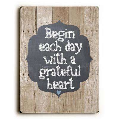 "9 in. x 12 in. ""Grateful Heart"" by Ginger Oliphant Solid Wood Wall Art"