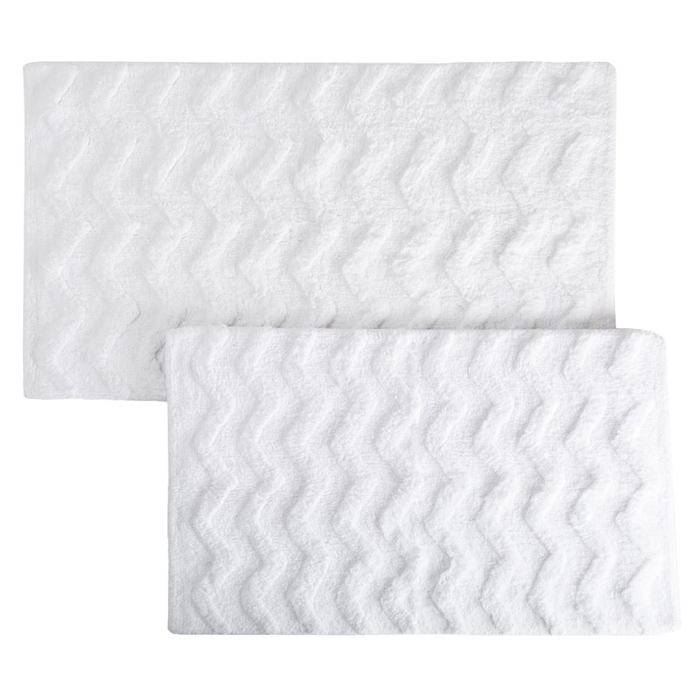 Chevron White 24.5 in. x 41 in. 2-Piece Bathroom Mat Set