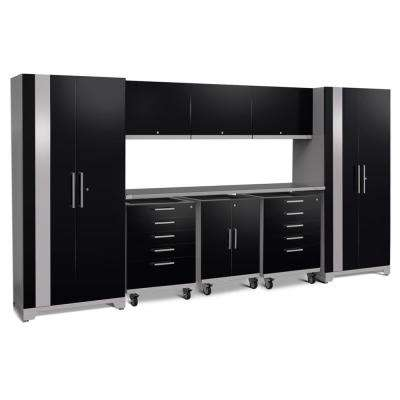 Performance Plus 2.0 161 in. W x 83.25 in. H x 24 in. D Steel Garage Cabinet Set in Black (10-Piece)