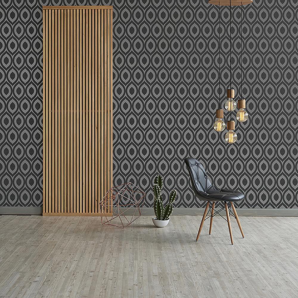 56.4 sq. ft. Rimini Black Geometric Wallpaper