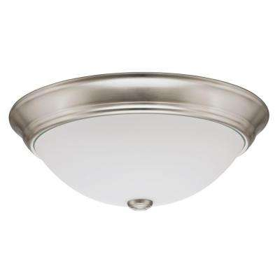 Essentials 10 in. Brushed Nickel LED Decor Round Flushmount with Shade