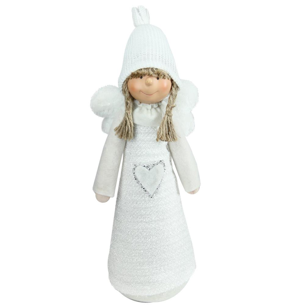 14.5 in. White Snowy Woodlands Girl Angel Christmas Tabletop Figure