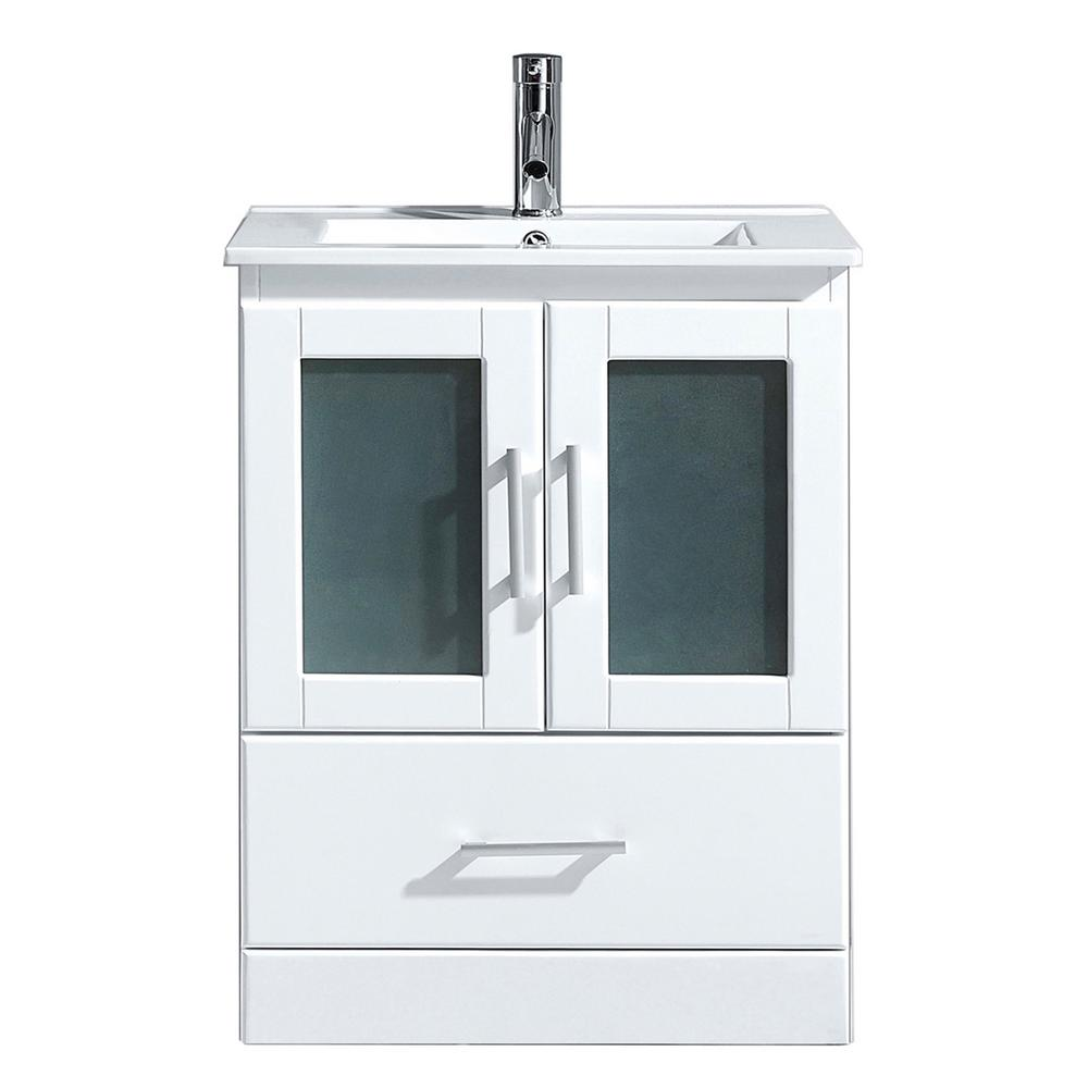 Virtu USA Zola 24 in. W Bath Vanity in White with Ceramic Vanity Top in Slim White Ceramic with Square Basin and Faucet
