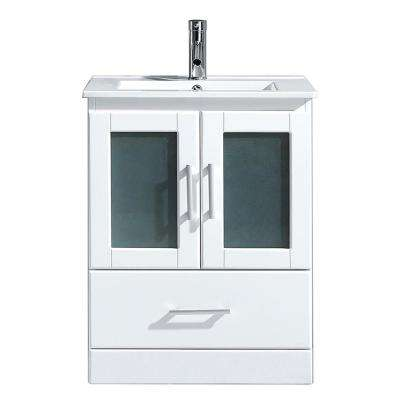 Zola 24 in. W Bath Vanity in White with Ceramic Vanity Top in Slim White Ceramic with Square Basin and Faucet