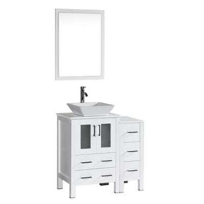 36 in. W Single Bath Vanity in White with Pheonix Stone Vanity Top with White Basin and Mirror