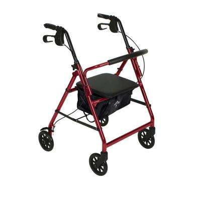 Steel Lightweight Folding 4-Wheel Rollator in Red