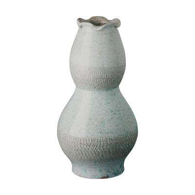 Tall Scallop Coastal Splash Ceramic Vase
