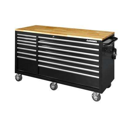 62 in. W 14-Drawer, Deep Tool Chest Mobile Workbench in Gloss Black with Solid Wood Top