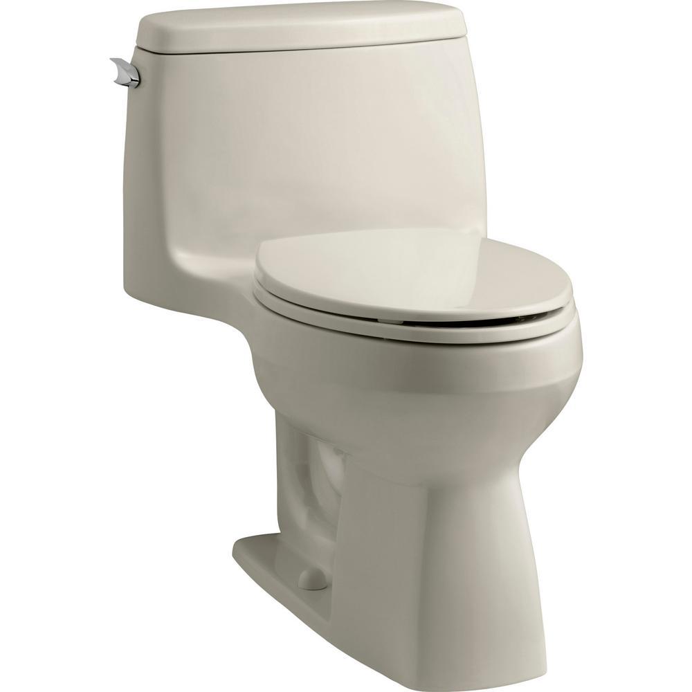 Santa Rosa Comfort Height 1-Piece 1.28 GPF Single Flush Compact Elongated Toilet with AquaPiston Flush in Sandbar