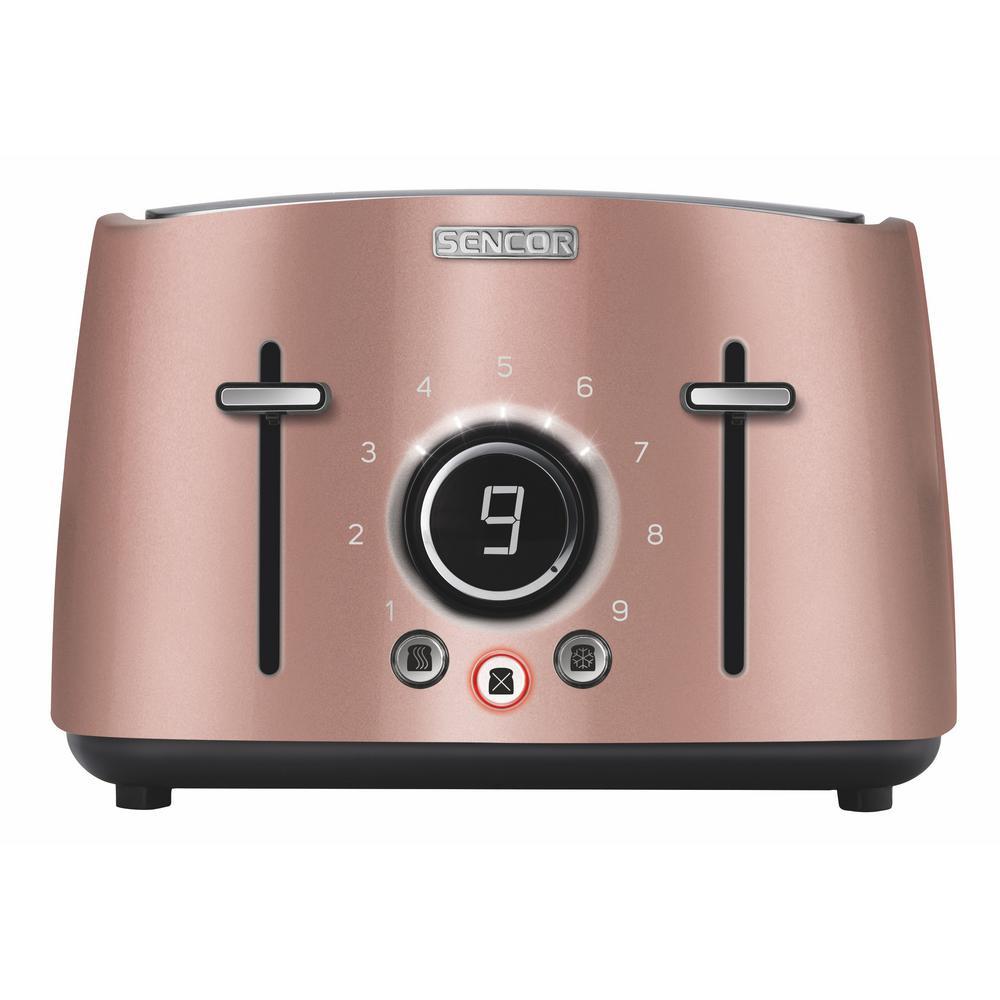 1600-Watt 4 Slice Pink Toaster with Rack