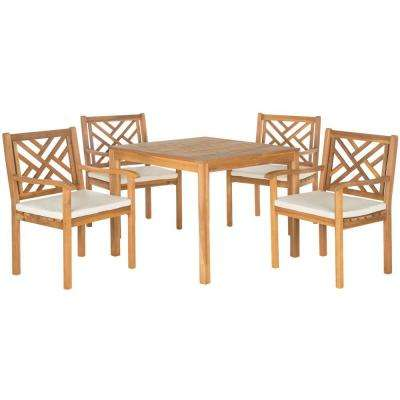 Bradbury Teak Brown 5-Piece Patio Dining Set with Beige Cushions