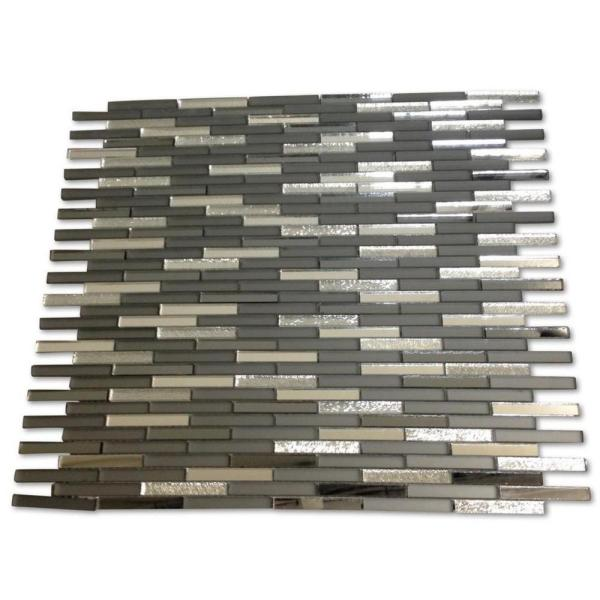 Specchio Metallic Night Terrace 12-3/4 in. x 12 in. x 4 mm Polished and Frosted Glass Mirror Mosaic Tile