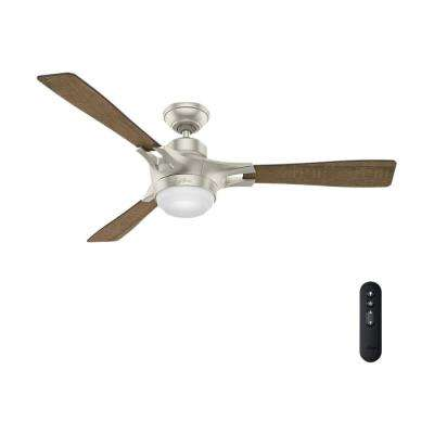 Signal – Wifi Enabled Apple HomeKit/Google Home/Alexa 54 in. Indoor Matte Nickel Ceiling Fan with Light Kit and Remote