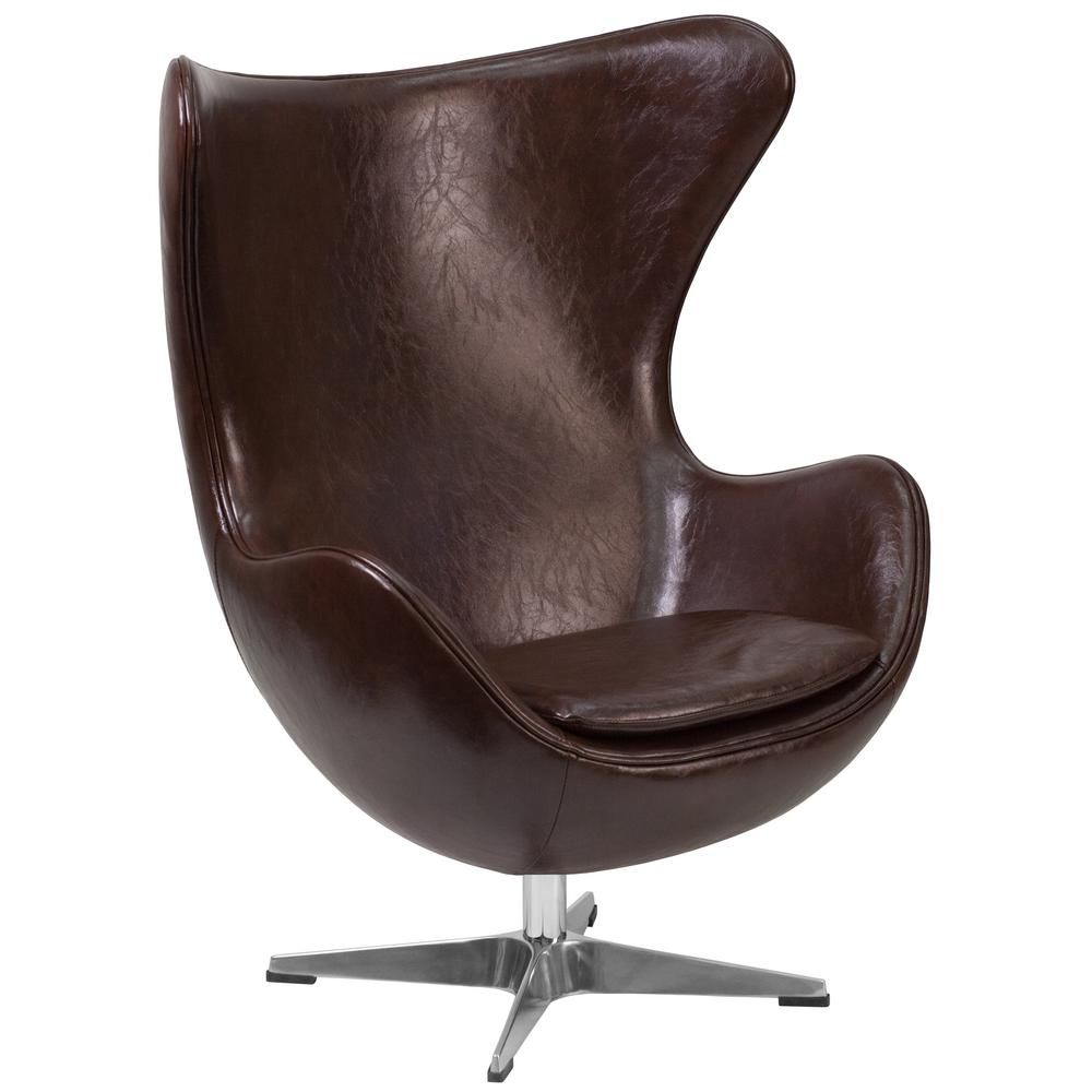 Flash Furniture Brown Leather Egg Chair With Tilt Lock