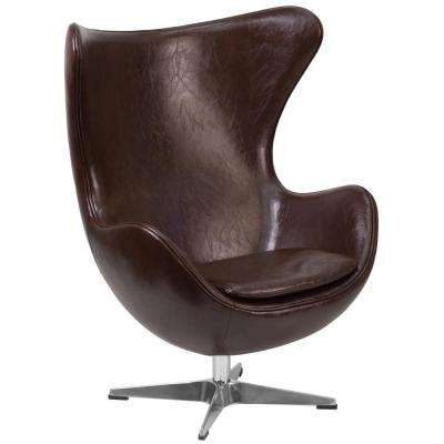 Brown Leather Egg Chair with Tilt-Lock Mechanism