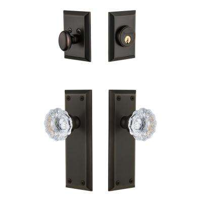 Fifth Avenue Plate 2-3/4 in. Backset Timeless Bronze Fontainebleau Crystal Door Knob with Single Cylinder Deadbolt