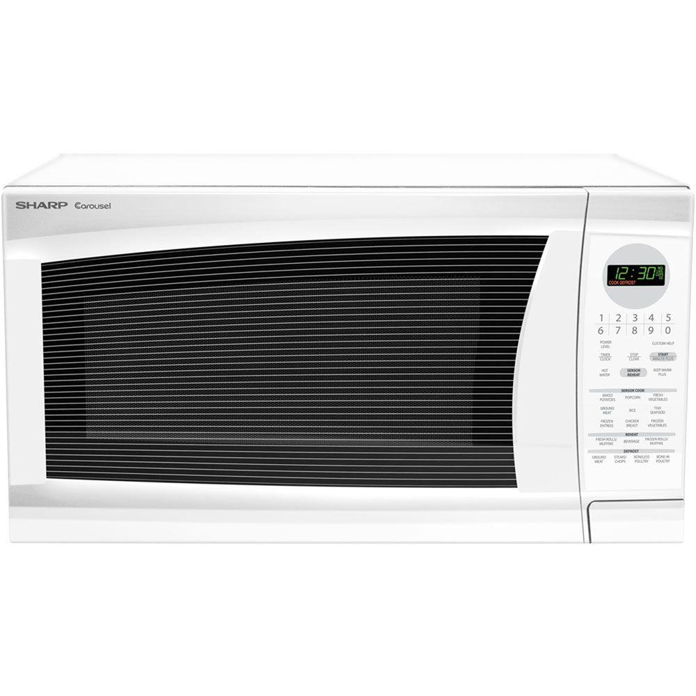 Sharp Refurbished 2.0 cu. ft. Countertop Microwave in White with Sensor Cooking-DISCONTINUED