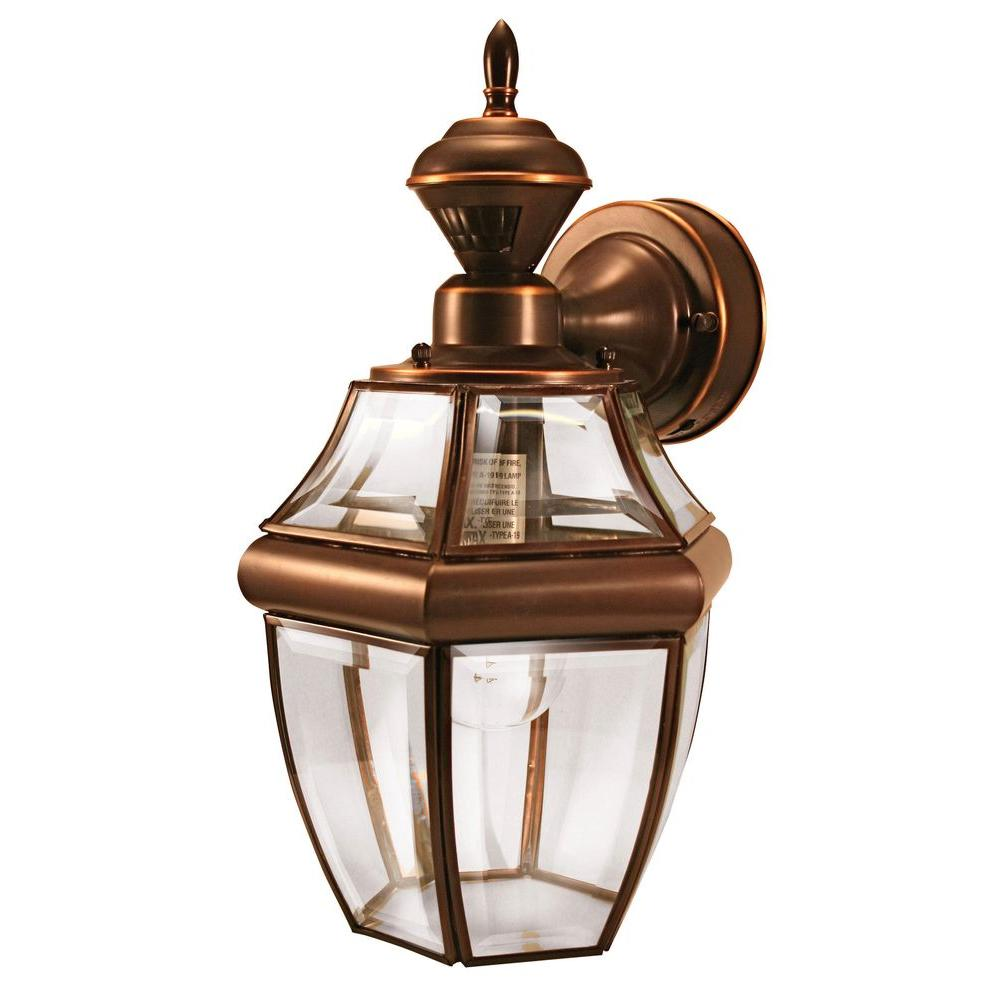 Heath Zenith 150 Degree Hanging Carriage Motion Sensing Decorative Lantern - Antique Copper-DISCONTINUED