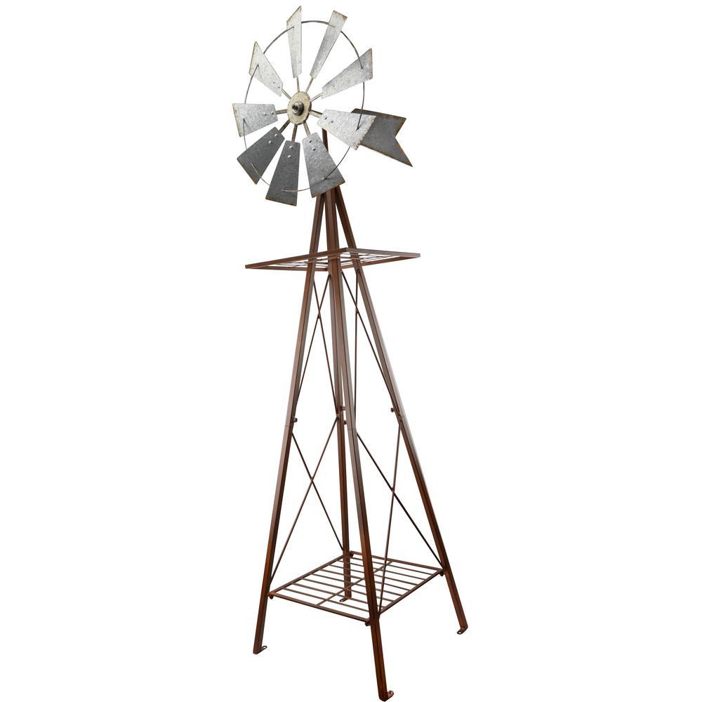 58 in. Small Galvanized and Rust Windmill