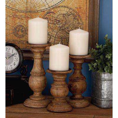 Rustic Stained Mango Wood Candle Holder (Set of 3)