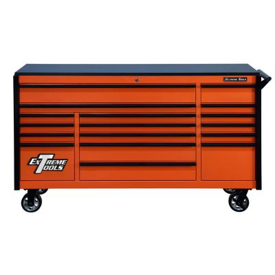 DX 72 in. 17-Drawer Roller Cabinet Tool Chest in Orange with Black Drawer Pulls