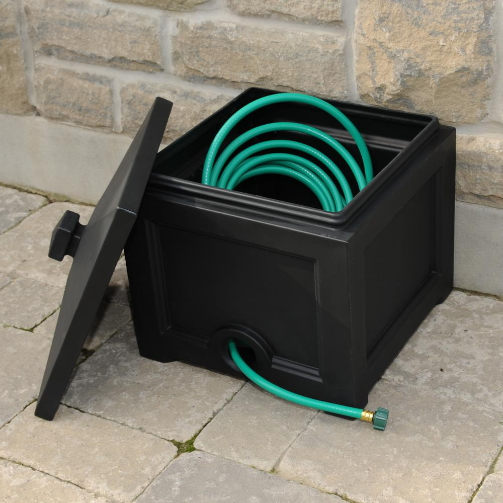 Mayne Fairfield Garden Hose Bin In Black 5858 B The Home Depot
