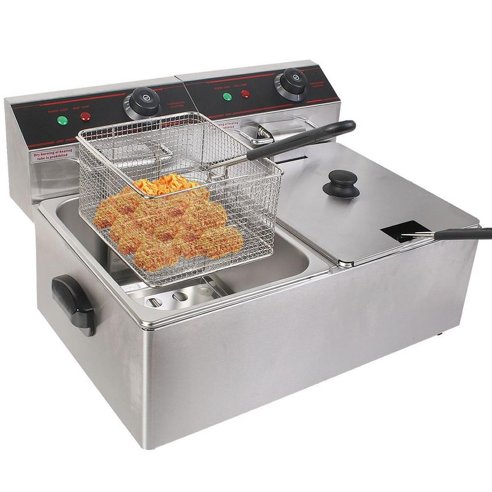 Costway 5000 Watt Electric Countertop Deep Fryer Dual Tank