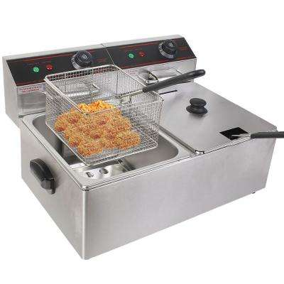 5000-Watt Electric Countertop Deep Fryer Dual Tank Commercial Restaurant Steel