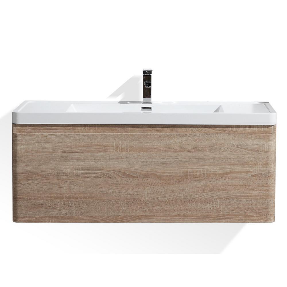 Happy 48 in. W Bath Vanity in White Oak with Reinforced Acrylic Vanity Top in White with White Basin