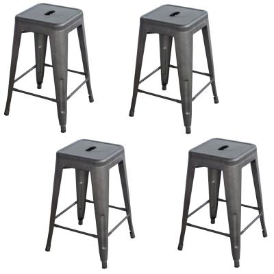 Loft Style 24 in. Rustic Gunmetal Metal Bar Stool (Set of 4)