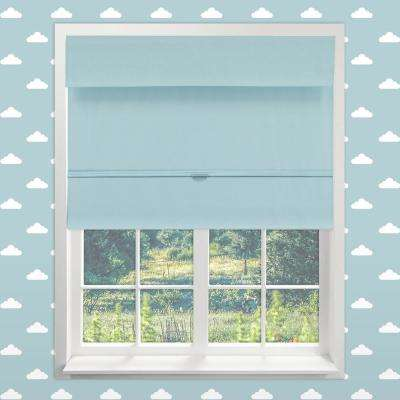 Magnetic Roman Shade Baby Blue Polyester Cordless Roman Shade - 23 in. W x 64 in. L