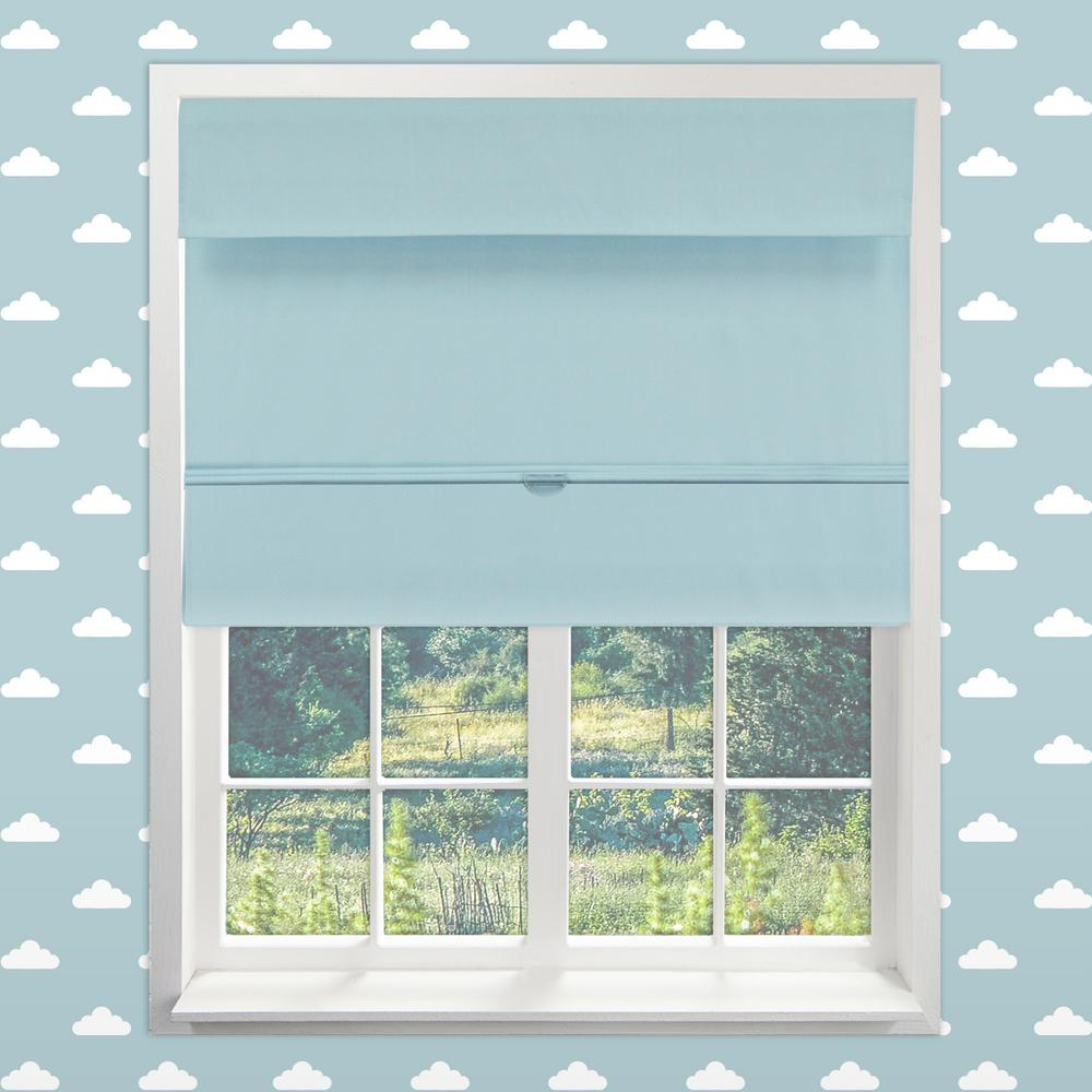 Chicology Magnetic Roman Shade Baby Blue Polyester Cordless 39 In W X 64 L