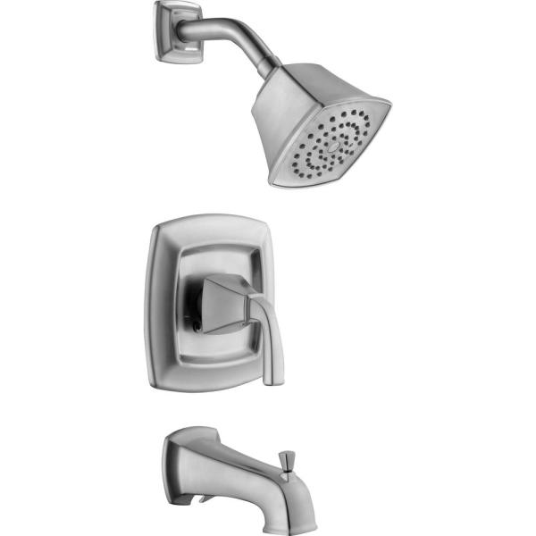 Belle Foret Mason 1 Handle 1 Spray Tub And Shower Faucet In Brushed Nickel Valve Included 873w 3504 The Home Depot