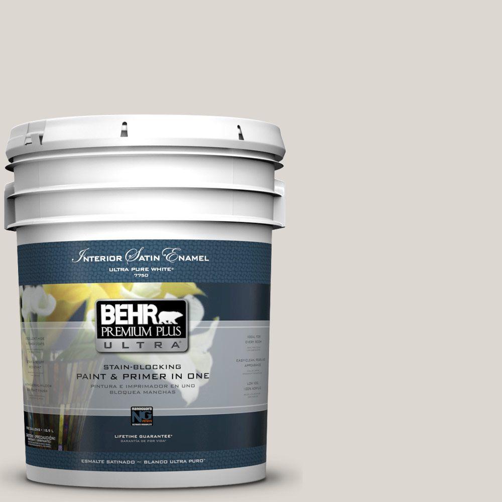 BEHR Premium Plus Ultra 5-gal. #N320-1 Campfire Ash Satin Enamel Interior Paint