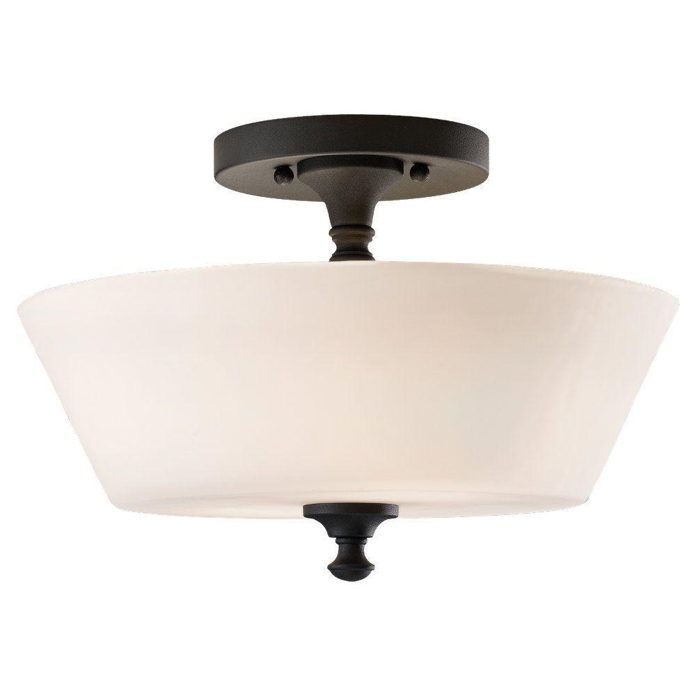 Peyton 2-Light Black Semi-Flush Mount Light