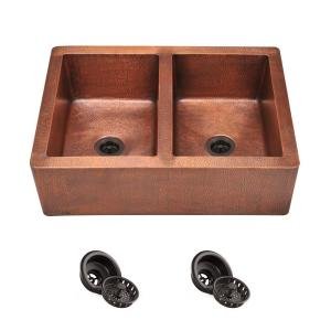 Farmhouse Apron Front Copper 35 in. Double Bowl Kitchen Sink with Strainers