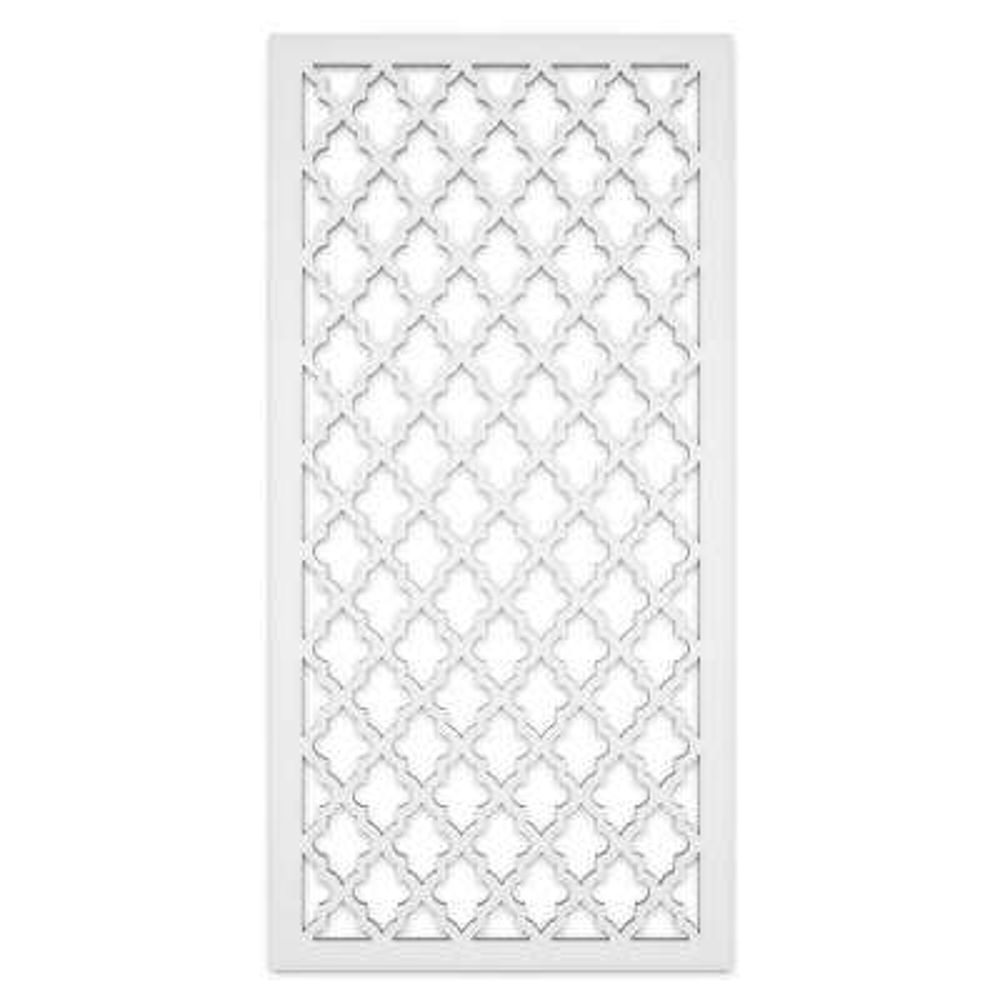 Morocco 2 ft. x 4 ft. White Vinyl Decorative Screen Panel (Pack of 2)