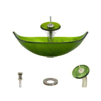 Glass Vessel Sink in Green Leaf with Waterfall Faucet and Pop-Up Drain in Brushed Nickel