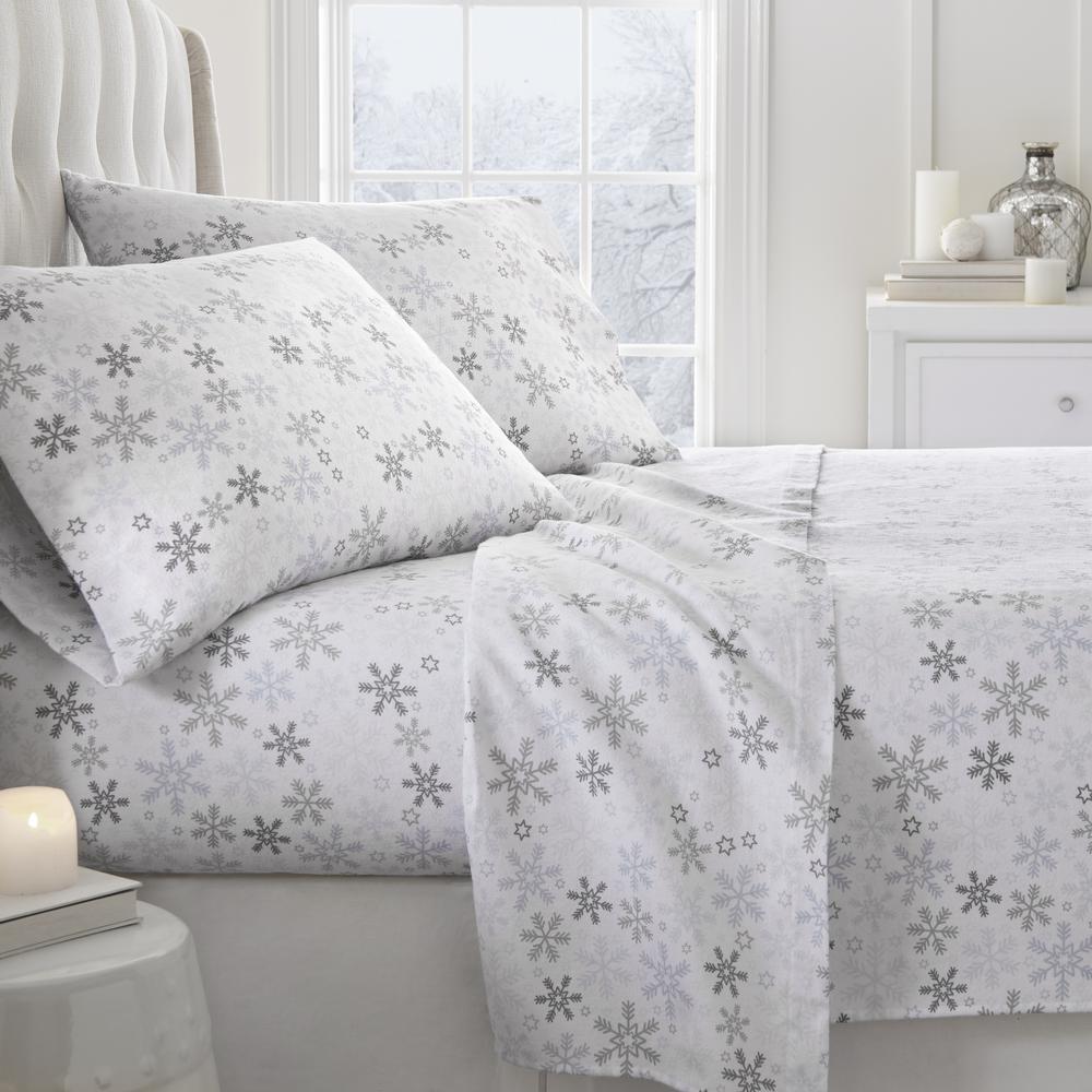 Snow Flannel Light Blue Twin 4-Piece Bed Sheet Set