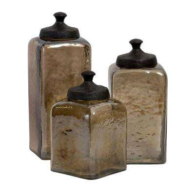 Lenora 13 in. Glass Decorative Container in Brown (Set of 3)