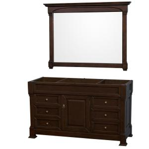 Andover 60 in. W x 22.25 in. D Bath Vanity Cabinet Only with Mirror in Dark Cherry