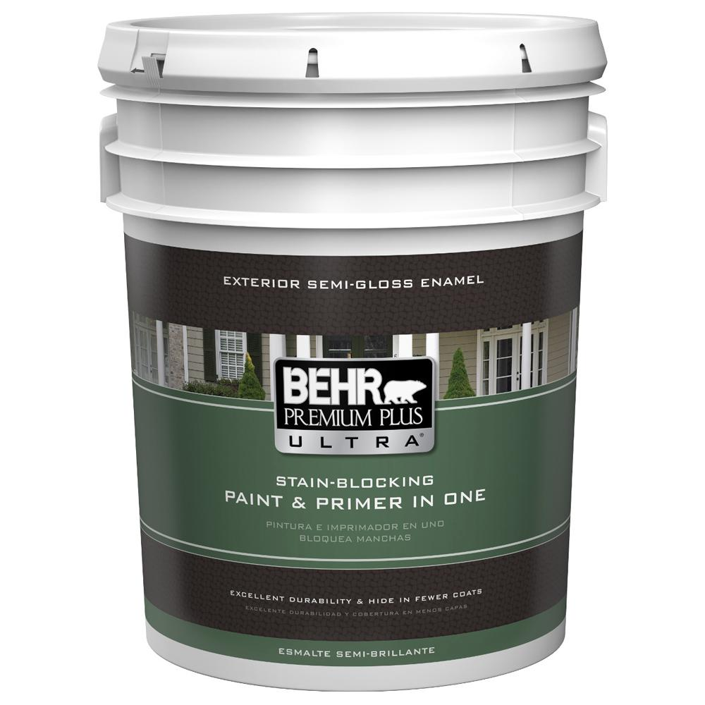 BEHR Premium Plus Ultra 5 gal. Ultra-Pure White Semi-Gloss Enamel