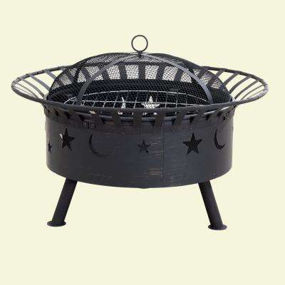 32 in. x 23.62 in. Round Steel Wood-Burning Fire Pit with Moon and Star Design in Black with Brush